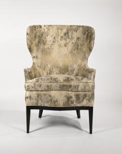 Edward Wormley Dunbar Wingback Chairs designed by Edward Wormley in a Custom Cartier Textile - 1132988