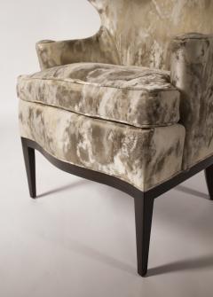 Edward Wormley Dunbar Wingback Chairs designed by Edward Wormley in a Custom Cartier Textile - 1132990