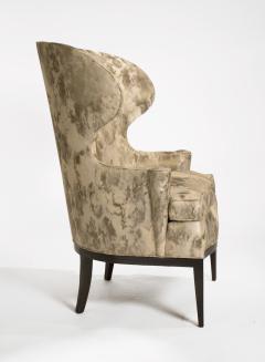 Edward Wormley Dunbar Wingback Chairs designed by Edward Wormley in a Custom Cartier Textile - 1132991