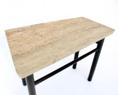 Edward Wormley EDWARD WORMLEY TRAPEZOID SIDE TABLE WITH ASAVAN CARRARA MARBLE TOP FOR DUNBAR - 1984579