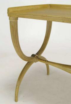 Edward Wormley Edward Wormley Bleached Mahogany Reeded Curule Leg Table - 267345