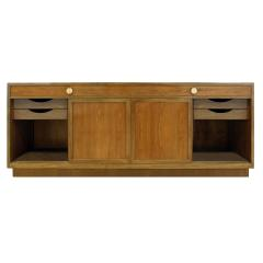 Edward Wormley Edward Wormley Elegant Credenza in Walnut and Mahogany 1960s signed  - 1046758