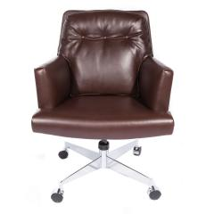 Edward Wormley Edward Wormley Office Chair in Leather with Chrome Base 1960s - 1991148