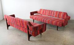 Edward Wormley Edward Wormley Open Back Sofas for Dunbar Original Dorothy Liebes Woven Textile - 1847089