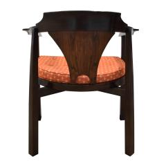 Edward Wormley Edward Wormley Set of 4 Dining Game Chairs in Walnut and Rosewood 1963 Signed  - 1675278