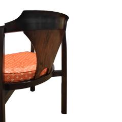 Edward Wormley Edward Wormley Set of 4 Dining Game Chairs in Walnut and Rosewood 1963 Signed  - 1675279