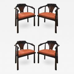 Edward Wormley Edward Wormley Set of 4 Dining Game Chairs in Walnut and Rosewood 1963 Signed  - 1678946