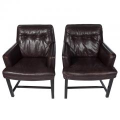 Edward Wormley Edward Wormley for Dunbar Armchairs with Original Leather Circa 1960s - 544145