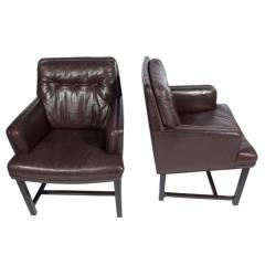 Edward Wormley Edward Wormley for Dunbar Armchairs with Original Leather Circa 1960s - 544146
