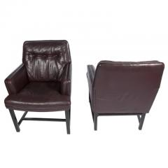 Edward Wormley Edward Wormley for Dunbar Armchairs with Original Leather Circa 1960s - 544147