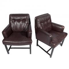 Edward Wormley Edward Wormley for Dunbar Armchairs with Original Leather Circa 1960s - 544148
