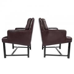 Edward Wormley Edward Wormley for Dunbar Armchairs with Original Leather Circa 1960s - 544149