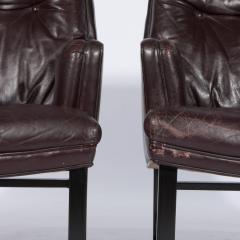 Edward Wormley Edward Wormley for Dunbar Armchairs with Original Leather Circa 1960s - 544151
