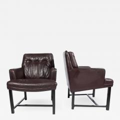 Edward Wormley Edward Wormley for Dunbar Armchairs with Original Leather Circa 1960s - 544901