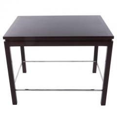 Edward Wormley Edward Wormley for Dunbar Walnut Side Table with Chrome Stretchers Circa 1960s - 544117