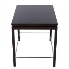 Edward Wormley Edward Wormley for Dunbar Walnut Side Table with Chrome Stretchers Circa 1960s - 544122