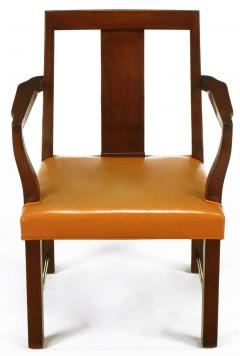 Edward Wormley Eight Edward Wormley Mahogany Leather and Brass Dining Chairs - 237477