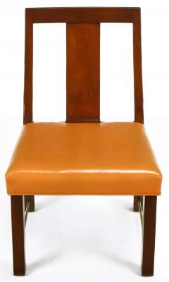 Edward Wormley Eight Edward Wormley Mahogany Leather and Brass Dining Chairs - 237478
