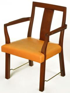 Edward Wormley Eight Edward Wormley Mahogany Leather and Brass Dining Chairs - 237479