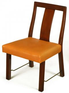Edward Wormley Eight Edward Wormley Mahogany Leather and Brass Dining Chairs - 237480
