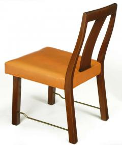 Edward Wormley Eight Edward Wormley Mahogany Leather and Brass Dining Chairs - 237482
