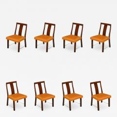 Edward Wormley Eight Edward Wormley Mahogany Leather and Brass Dining Chairs - 237615
