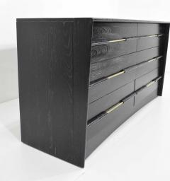 Edward Wormley Mid Century Chest of Drawers in Ebony Cerused Oak with Brass Pulls - 1458196