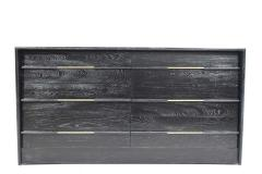 Edward Wormley Mid Century Chest of Drawers in Ebony Cerused Oak with Brass Pulls - 1458199
