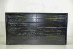 Edward Wormley Mid Century Chest of Drawers in Ebony Cerused Oak with Brass Pulls - 1458202