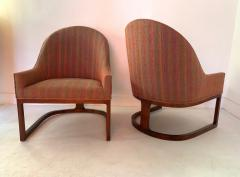 Edward Wormley Pair Mid Century Modern Spoon Back Lounge Chairs - 1170575