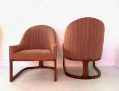 Edward Wormley Pair Mid Century Modern Spoon Back Lounge Chairs - 1170576