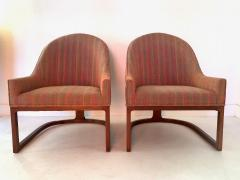Edward Wormley Pair Mid Century Modern Spoon Back Lounge Chairs - 1170577