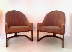Edward Wormley Pair Mid Century Modern Spoon Back Lounge Chairs - 1170578