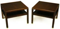 Edward Wormley Pair of Edward Wormley Mahogany End Tables with Brass Feet - 278338