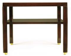 Edward Wormley Pair of Edward Wormley Mahogany End Tables with Brass Feet - 278340