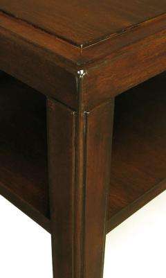 Edward Wormley Pair of Edward Wormley Mahogany End Tables with Brass Feet - 278342
