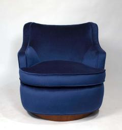 Edward Wormley Pair of Edward Wormley Swivel Chairs for Dunbar in Blue Velvet - 1463226