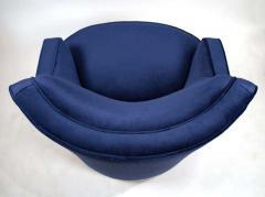 Edward Wormley Pair of Edward Wormley Swivel Chairs for Dunbar in Blue Velvet - 1463227