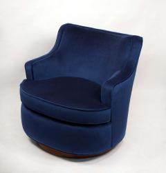 Edward Wormley Pair of Edward Wormley Swivel Chairs for Dunbar in Blue Velvet - 1463229