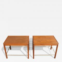 Edward Wormley Pair of Mahogany Walnut and Brass Side Tables by Edward Wormley for Dunbar - 2072246