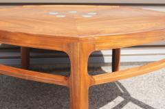 Edward Wormley Pentagonal Janus Coffee Table with Natzler Tiles by Edward Wormley for Dunbar - 2049769