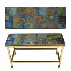 Edward Wormley Petite table with Tiffany glass mosaic top by Ed Wormley for Dunbar - 1391341