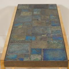 Edward Wormley Petite table with Tiffany glass mosaic top by Ed Wormley for Dunbar - 1391342