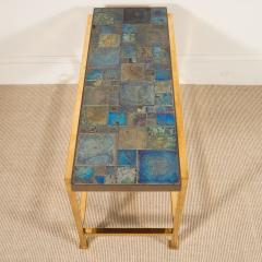 Edward Wormley Petite table with Tiffany glass mosaic top by Ed Wormley for Dunbar - 1391345