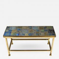 Edward Wormley Petite table with Tiffany glass mosaic top by Ed Wormley for Dunbar - 1393063