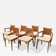 Edward Wormley Set Of Six Cane Dining Chairs By Edward Wormley For Dunbar    363483