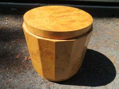 Edward Wormley Stunning Dunbar Edward Wormley Burled Olivewood Octagon Drum Coffee Table - 1252514