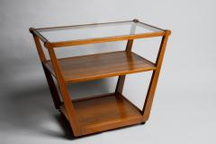 Edward Wormley Tiered Serving Cart for Drexel in Elm Art with Glass Top and Casters - 364110