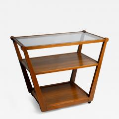 Edward Wormley Tiered Serving Cart for Drexel in Elm Art with Glass Top and Casters - 365642
