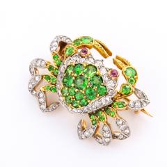 Edwardian Demantoid Garnet and Diamond Crab Brooch - 991862